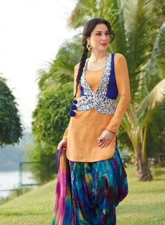 Casual Patiala Salwar Kameez In Light Orange .  Buy at - http://www.gravity-fashion.com/casual-patiala-salwar-kameez-in-light-orange.html