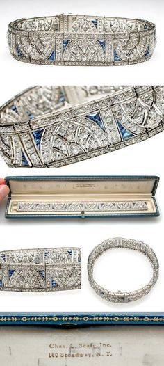 Art Deco Antique Platinum, Diamond & Blue Sapphire Cuff Bracelet, circa 1920