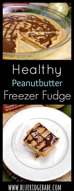 Healthy Peanutbutter Freezer Fudge with Chocolate Sea Salt Drizzle