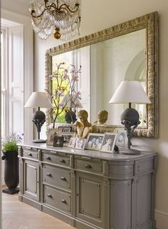 Dining Room Sideboard Decorating Idea Entrance Hall with Sideboard and Large Mirror Dining Room Sideboard, Entryway Tables, Console Table, Table Lamps, Entrance Hall Tables, Entryway Ideas, Hallway Ideas, Dining Rooms, Foyer Decorating