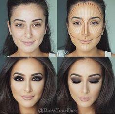 Konturieren, Hervorheben und Backen in Ihrem Make-up - Makeup Contour Highlighter Makeup, Skin Makeup, Makeup Brushes, Highlighters, Brown Eyes Makeup, Illuminator Makeup, Cat Makeup, Eye Brushes, Body Makeup