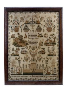 A Victorian sampler by Elizabeth Hall Inscribed 'Elizabeth Hall, her work finished in the 13th year of her age, 1841, taught by Mrs Willsea', featuring a moral verse, surrounded by numerous spot motifs, including a young girl with a dog, a farmhouse, an owl, and floral motifs, within a floral border