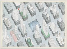 Rem Koolhaas and Madelon Vriesendorp. The City of the Captive Globe Project, New York, New York, Axonometric.