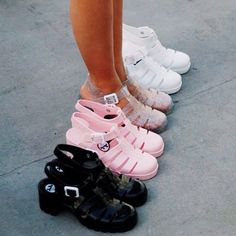 "jujufootwear: ""#JuJuRegram aminorris :: A #JuJuJellies line up we are jealous of! """