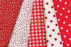 Red & white cotton fabric set with meadow, check and stars / Zestaw biało-czerwony
