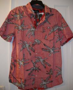 0135ba53c4 New  79 Buffalo David Bitton Hawaiian Narly Reverse Print Metal Logo Shirt~L