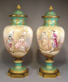antique sevres hand painted porcelain perfume bottle