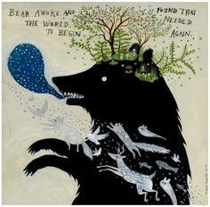 Bear creates world again original painting by Diana Sudyka