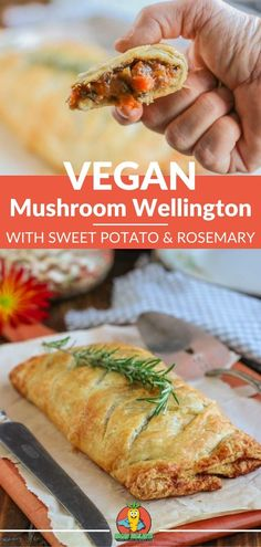 A vegan wellington made with puff pastries & filled with mushrooms, sweet potato & rosemary for a unique vegan spin on an old classic. A vegan mushroom wellington recipe that's not just for Christmas. #veganwellington #veganwellingtonrecipe #veganmushroomwellington #veganmushroomwellingtonrecipe #veganmushroomwellingtonpuffpastries #easy #veganchristmasrecipes #veganthanksgivingrecipes #mushrooms #sweetpotatoes