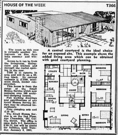 House of the Week 3 Bed, 1 Bath, Atrium. Vintage House Plans, Modern House Plans, House Floor Plans, Atrium House, Courtyard House Plans, Courtyard Design, Sims House, Little Houses, Tiny Houses