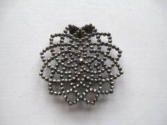 Cut Steel Buckle Slide French Snowflake Vintage Jewelry Supply Assemblage Sash Buckles