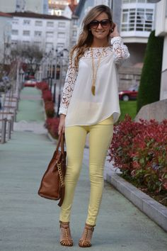 White Lace Long Slv Tunic + Yellow Skinny Jeans + Nude Heels + Long Pendant Necklace + Sunglasses + Leather Handbag