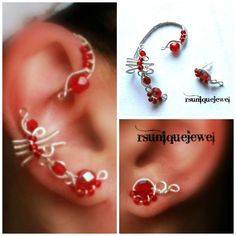 Oaak Wire Wrapped Red Beads Earcuff Set Clip by rsuniquejewel, $29.00