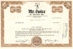 Mr Swiss of America stock certificate 1970 (fast food chain) Car Wash Franchise, Fast Food Franchise, Money Frame, Common Stock, Fast Food Chains, Retro Vector, Beef Sandwich