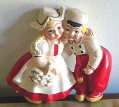 VINTAGE CHALKWARE DUTCH BOY & GIRL KITCHEN WALL PLAQUE in Collectibles, Decorative Collectibles, Chalkware   eBay