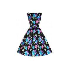 Retro šaty Lindy Bop Audrey Tropical Floral šaty ve stylu 50. let. nechte svoji krásu rozkvést! dokonalé šaty v úžasném květinovém vzoru, ve kterých budete nepřehlédnutelná. krásně padnou, příjemná bavlna s podílem elastanu, černý páseček součástí. možno doplnit spodničkou, kterou najdete také v nabídce