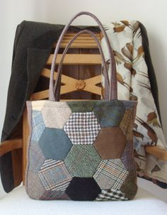 Brown Tweed Patchwork Purse Handbag by FromRagsToBags on Etsy, $62.00