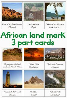 African landmarks and African Flag Cards Teaching Geography, World Geography, Montessori Materials, Montessori Activities, Thinking Day, World Cultures, Social Science, Kids Education, Social Studies