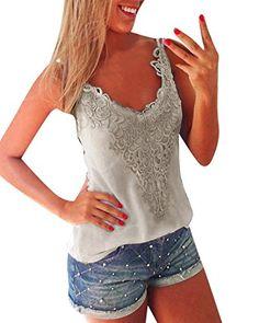440ee3e6e5b ZANZEA Women s Sexy Sleeveless Lace Crochet Tank Tops T Shirt Blouse Camis  Vest at Amazon Women s Clothing store  Plus Size Cami ...