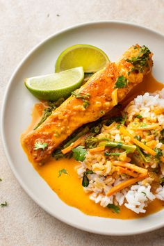 You'll love delicious, tender pan-seared salmon in this creamy coconut lime red curry broth. Perfect served over rice! Salmon Recipes, Veggie Recipes, Fish Recipes, Seafood Recipes, Asian Recipes, Beef Recipes, Chicken Recipes, Cooking Recipes, Healthy Recipes