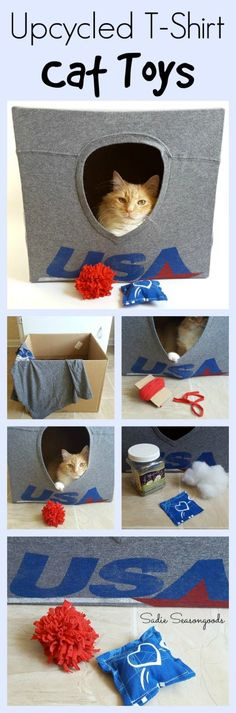 Your old t-shirts are PERFECT for repurposing and upcycling into play things for your cat! Create an easy DIY cat cave with a large cardboard box- kitty will love the new hidey hole. And you can add to it with t-shirt pompom and catnip toys- super easy to make yourself!