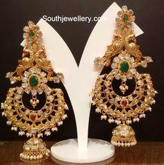 Heavy Antique Jhumkas - Jewellery Designs