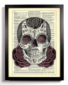 Repurposed Book Upcycled Dictionary Art Vintage Book Print Recycled Vintage Dictionary Page Sugar Skull Day of the Dead Buy 2 Get 1 FREE