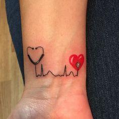 ekg tattoo nurse & ekg tattoo ` ekg tattoo ideas ` ekg tattoo memorial ` ekg tattoo nurse ` ekg tattoo with name ` ekg tattoo placement ` ekg tattoo with flower ` ekg tattoo men Rn Tattoo, Piercing Tattoo, Tattoo Liebe, Wrist Tattoos, Love Tattoos, Body Art Tattoos, New Tattoos, Small Tattoos, Tattoos For Women