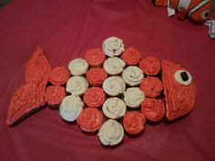 This is how he turned out! Finding Nemo Birthday Cupcake for my nieces 1st birthday party.
