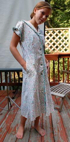 Depression Era House Dresses   1940s Cotton Dress Depression Era House Dress Short Sleeves Button ...