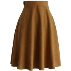 Chicwish Faux Suede A-line Skirt in Tan (160 SAR) ❤ liked on Polyvore featuring skirts, brown, knee length a line skirt, tan skirt, a line skirt, faux suede skirt and brown skirt