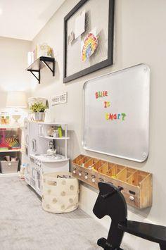 PLAY is the work of childhood Loft Playroom, Small Playroom, Montessori Playroom, Toddler Playroom, Playroom Organization, Playroom Design, Playroom Decor, Boys Playroom Ideas, Kids Playroom Storage