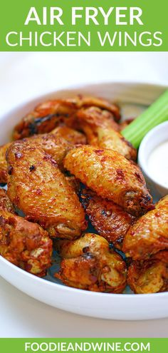 The BEST Air Fryer Chicken Wings Recipe. Crispy Buffalo Chicken Wings with a juicy inside are the perfect game day appetizer. #airfryerchickenwings #airfryerchickenwingsfrozen #airfryerchickenwingsbuffalo #airfryerchickenwings #airfryerchickenwingseasy #airfryerchickenwingsketo #airfryerchickenwingscrispy Crispy Baked Chicken Legs, Baked Chicken Tenders Healthy, Easy Baked Chicken Wings, Whole Baked Chicken, Air Fryer Chicken Wings, Chicken Recipes Healthy Oven, Chicken Wing Recipes, Spicy Recipes, Appetizer Recipes