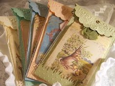 *** 3/11  paper craft or card pretty idea for tags for Easter use as gift card holder instead of Easter basket LU