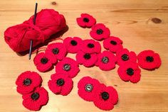 remembrance day crochet poppy brooches, free pattern, but you have to scroll way down the page to get it // could be really pretty sewn to a blanket . Knitted Poppy Free Pattern, Crochet Flower Patterns, Crochet Designs, Crochet Flowers, Crochet Brooch, Crochet Motif, Free Crochet, Yarn Projects, Crochet Projects