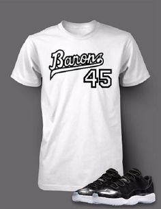 Graphic T Shirt To Match Retro Air Jordan 11 Barons Shoe Swag Outfits Men, Nike Outfits, Cool Outfits, Summer Outfits, Matching Jordans, Outfit Grid, Jordan 11, Tee Design, Dress Codes