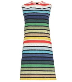 Sonia Rykiel - Striped cotton bouclé dress - Sonia Rykiel's signature colourful stripes make an appearance for a playful update to the shift dress silhouette. The soft cotton-blend bouclé offers a casual feel with Parisian-level sophistication. Be sure to pair yours with vibrant accessories to highlight the multicoloured stripes. seen @ www.mytheresa.com