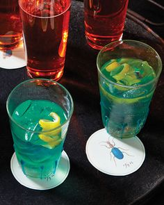 The usual gin and tonic gets brushed by a peacock's teal plume thanks to blue Curacao, a bitter-orange liqueur, and green Chartreuse, a French herbal liqueur.