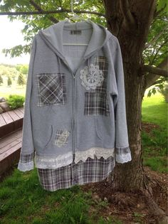 Upcycled Hoodie-Recycled Hoodie-Eco Fashion Clothing-Shabby Chic Hoodie-Rustic Hoodie Size Large XL-Heather Grey with Vintage Crochet