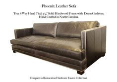 Phoenix Leather Sofa by Casco Bay Furniture. Compare to the Easton style by Restoration Hardware. Leather Furniture, Leather Sofa, Casco Bay, Restoration Hardware, Living Room Furniture, Family Room, New Homes, Cushions, Couch