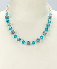 Look at this #zulilyfind! Turquoise Glass & Silver Floral 18'' Necklace #zulilyfinds