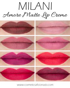 Milani Amore Matte Lip Cremes Review and Lip Swatches - I want the top 2 on the right!