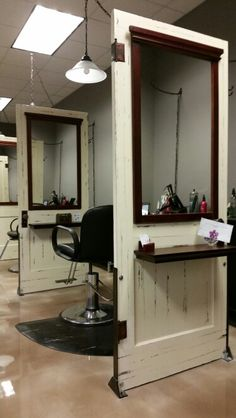 Salon stations made with antique repurposed doors at Calming Effects Health Spa #mycalmingeffects Kimball, MI www.calmingeffect...