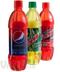 Soda Bottle Flavored Lip Balms: Looks and smells like soda!