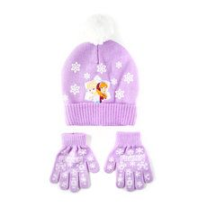 Disney Frozen Elsa and Anna Purple Knit Hat and Gloves Set