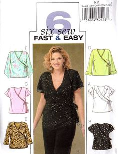 simple sewing for women | PLUS SIZE TOPS Sewing Pattern Easy Women's Wrap by patterns4you