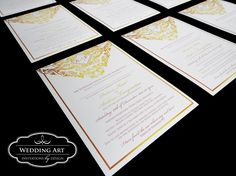 Glamour gold and blush pink wedding invitations