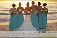 A Sunset Beach Wedding • MOHs on one side, bridal bridesmaids on the other ❤ Bridesmaids Pose. P.L. Carrillo Photography