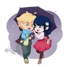 Miraculous Ladybug Chibi Marinette and Adrien Adrienette