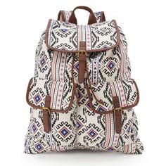 Mudd Rachel Aztec Backpack, Beige/Khaki ($30) ❤ liked on Polyvore featuring bags, backpacks, buckle backpack, white backpack, aztec print backpack, top handle bag and khaki backpack